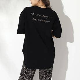 筆記体ラウンドTシャツ(ブラック)
