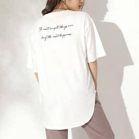 筆記体ラウンドTシャツ(ホワイト)