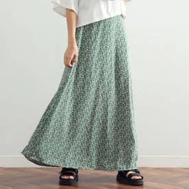 小花柄マキシスカート(グリーン)