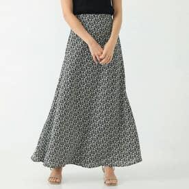 小花柄マキシスカート(ブラック)