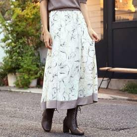 ラインフラワーサテン配色スカート(アイボリー)