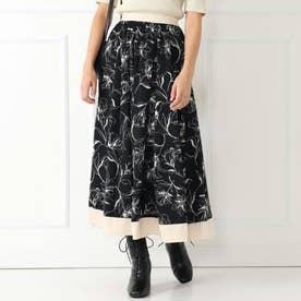 ラインフラワーサテン配色スカート(ブラック)