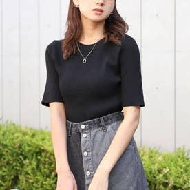 Uネック5分袖ニットトップス(ブラック)