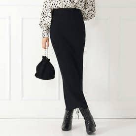 リブニットロングタイトスカート(ブラック)