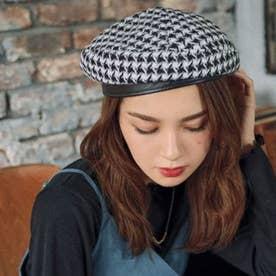 千鳥柄ベレー帽(ブラック)