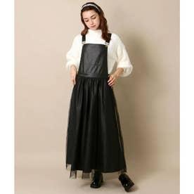 レザー×チュールデザインジャンパースカート(ブラック)