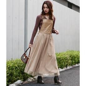 レザー×チュールデザインジャンパースカート(ベージュ)