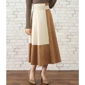 バイカラースウェードAラインスカート(キャメル)