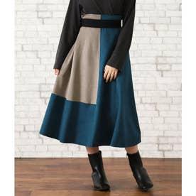 バイカラースウェードAラインスカート(ブルー)