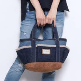 カラーデニムとヒッコリーのトートバッグ (ブルー)