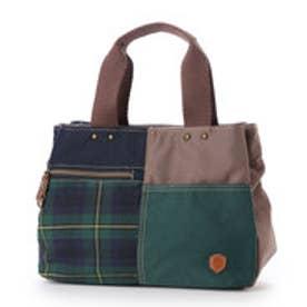 生地の組合せがかわいい3室手提げバッグ (グリーン)
