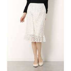 フラワーマーメイドスカート (ホワイト)