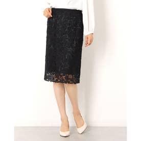フラワータイトスカート (ブラック)