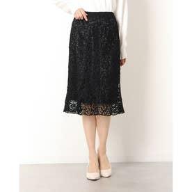 フラワー刺繍スカート (ブラック)