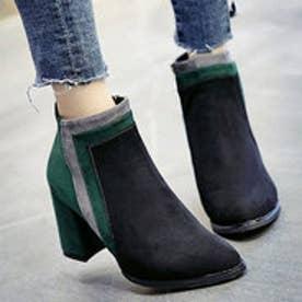 スエード調 配色アンクル丈ブーツ (ブラック×グリーン)