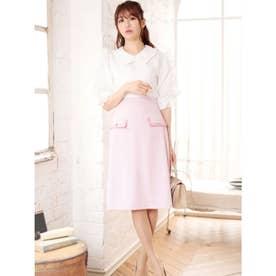 バイカラーフラップタイトスカート (ピンク)