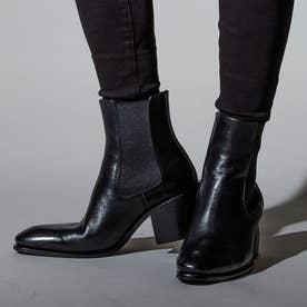 イタリアンレザー8cmヒールブーツ (ブラック)