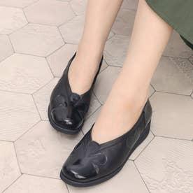 深物シルエットで足を優しく包み込む シンプルシャーリング・デザインパンプス GFL8201 (ブラック)