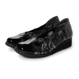 深物シルエットで足を優しく包み込む シンプルシャーリング・デザインパンプス GFL8201 (ブラックプリント)