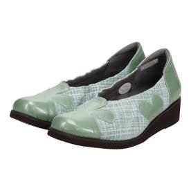深物シルエットで足を優しく包み込む シンプルシャーリング・デザインパンプス GFL8201 (ミントプリント)