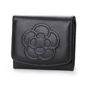 ワッフル BOX小銭入れ付き折り財布 (ブラック)