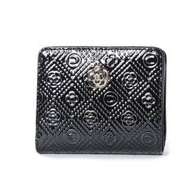 ミモザ Lファスナー2つ折り財布 (ブラック)