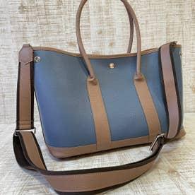 シュリンクレザー 本革 Lサイズ トートバッグ (ブルー×モカ)