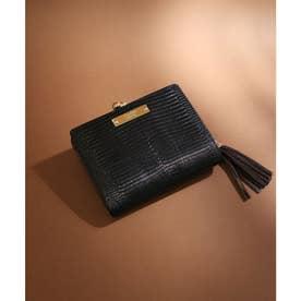 【CLAIRE】リザードレザーがま口財布 (ブラック)