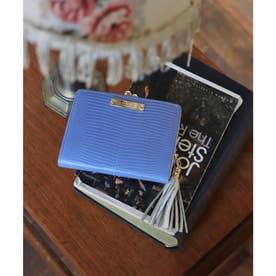 【CLAIRE】リザードレザーがま口財布 (グレイッシュブルー)