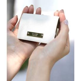 【CLAIRE】 イタリアンレザー無地シュリンク三つ折りミニマムウォレット (オフホワイト)