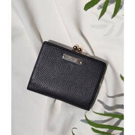 【CLAIRE】イタリアンレザー無地シュリンクがま口財布 (ブラック)