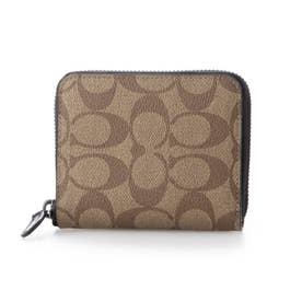 ショップ袋付き ラウンドファスナー折財布 シグネチャー メンズ  (ブラウン)