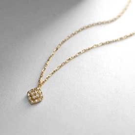 K18ダイヤモンド クラスター取巻き ロータスネックレス小 (イエローゴールド)