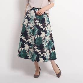 【洗える】フラワープリントAラインスカート (ダークネイビー)