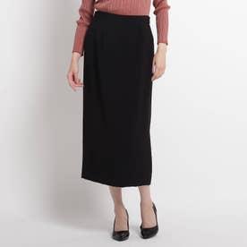 【洗える】ミモレタイトスカート (ブラック)