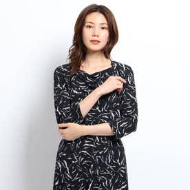 【洗える】ドレープ七分袖カットソー (ブラック)