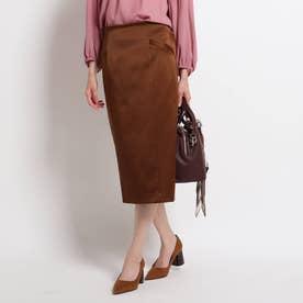 【洗える】バレンシアサテンタイトスカート (ブラウン)