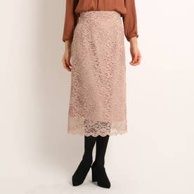 【洗える】アランレースナロースカート (ベビーピンク)