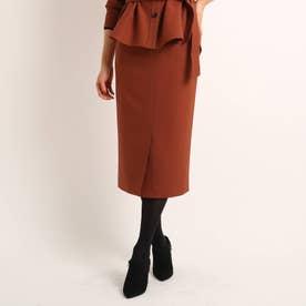 【洗える】エコールツイルナロースカート (ブラウン)