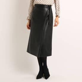 フェイクレザーラップ風スカート (ブラック)