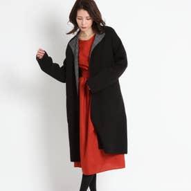 リバーシブルロングニットコート (ブラック)