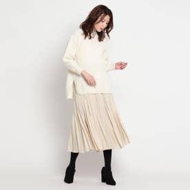 ニットプルオーバー×プリーツスカート セットアップ (ホワイト)