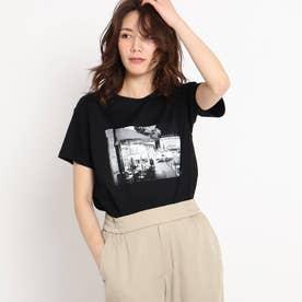 【洗える】カフェエフェクトプリントTシャツ (ブラック)