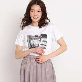 【洗える】カフェエフェクトプリントTシャツ (ホワイト)