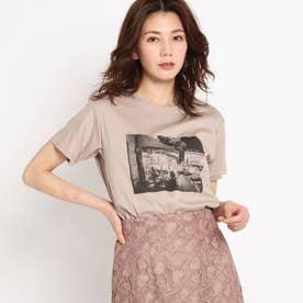 【洗える】カフェエフェクトプリントTシャツ (グレージュ)