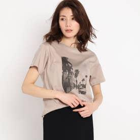 【洗える】リーフエフェクトプリントTシャツ (グレージュ)