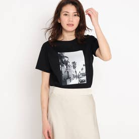 【洗える】リーフエフェクトプリントTシャツ (ブラック)
