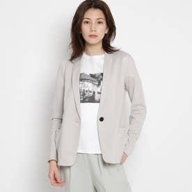 【洗える】テーラードジャケット風ジェンヌジャージカーディガン (ライトグレー)