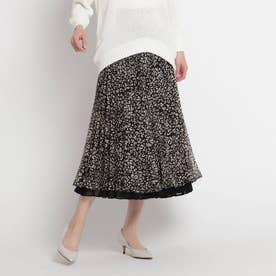 【洗える】アニマル柄プリーツリバーシブルスカート (ブラック)