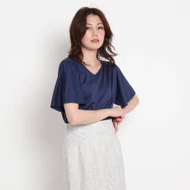 【洗える】肩シャーリングVネックプルオーバー (ブルー)